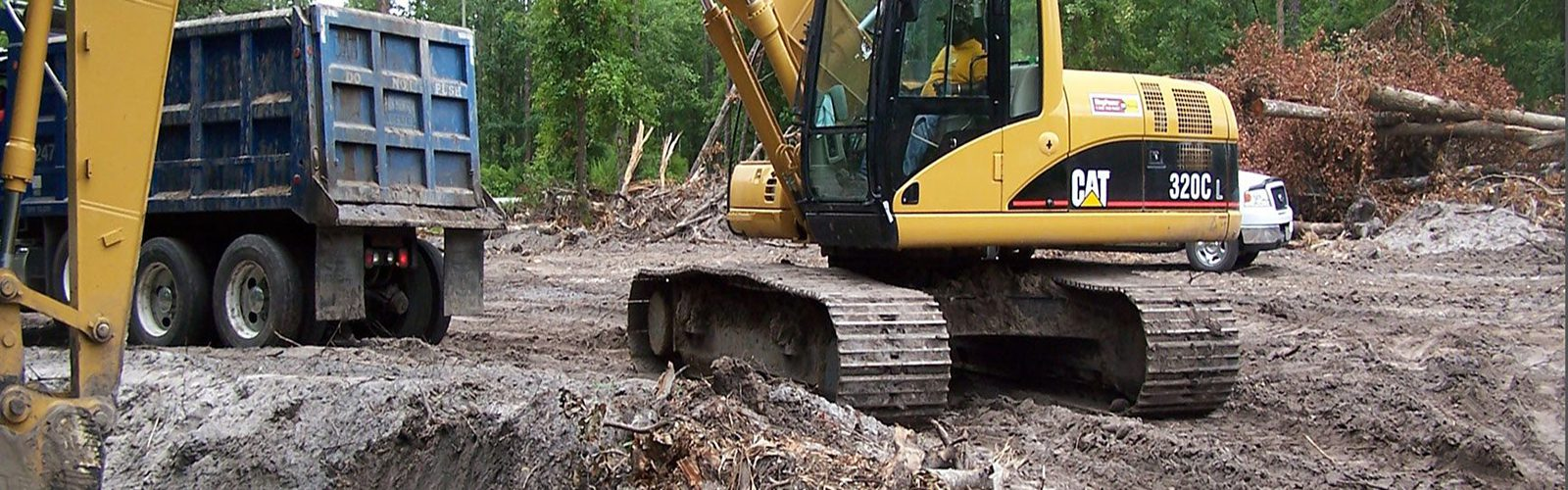Digger equipment moving earth