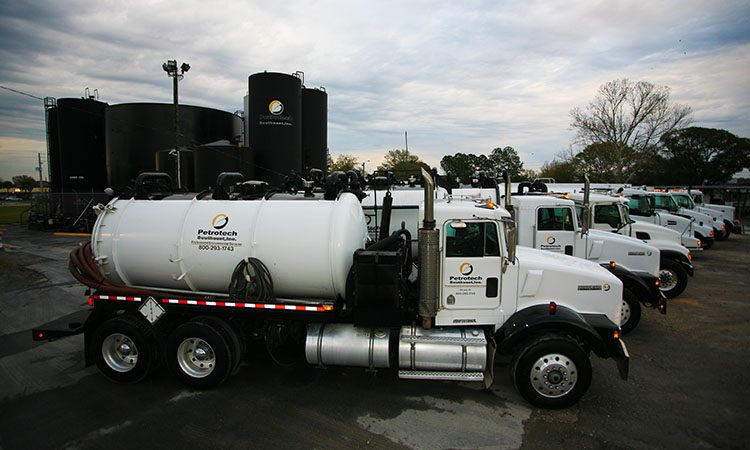 Fleet of Petrotech trucks
