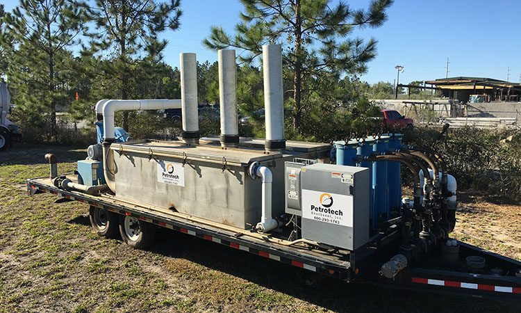 Water treatment machine on a flatbed
